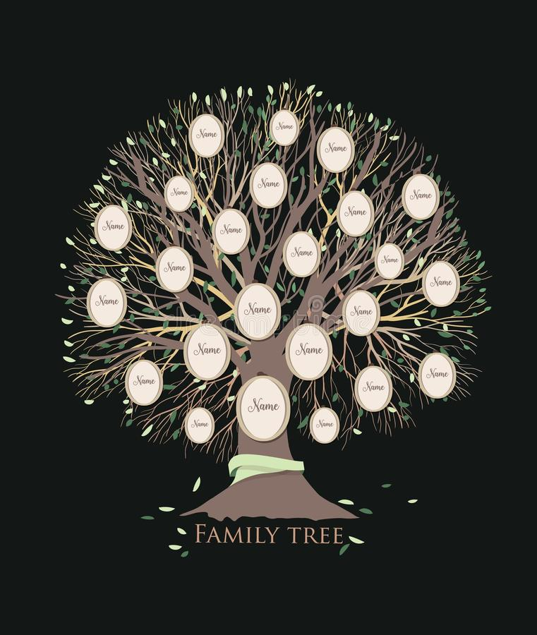 Stylized family tree or pedigree chart template with branches and round photo frames isolated on black background. Ancestry visualization, dynasty ancestors vector illustration