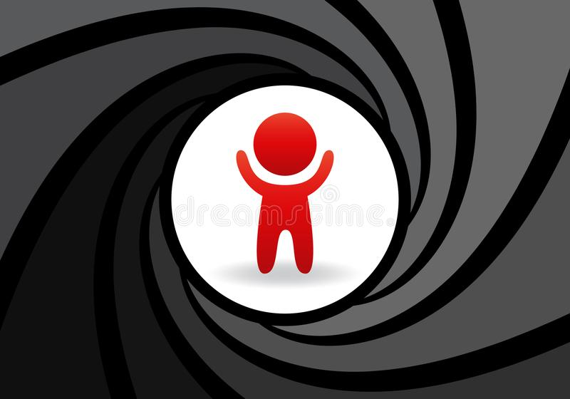 Stylized figure of man with raised hands in an abstract barrel of gun. Concept of safety, complete control over person vector illustration