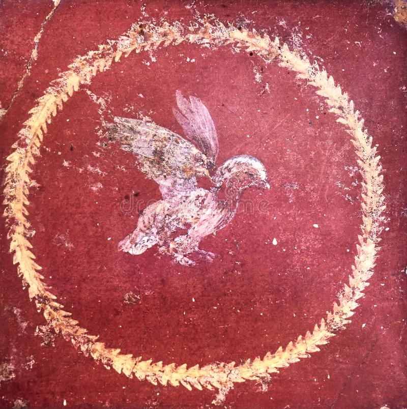 Free Stylized Figure Of A Bird On A Red Background, Ancient Roman Fresco In A Domus Of Pompeii. Royalty Free Stock Photography - 143597707