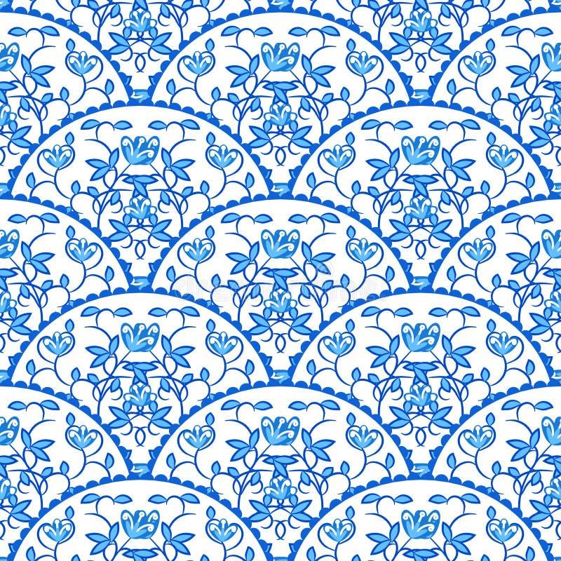Stylized fish scale japan seamless pattern. Flower royalty free illustration