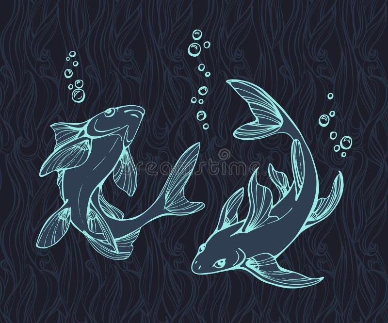 Stylized fishes. stock illustration