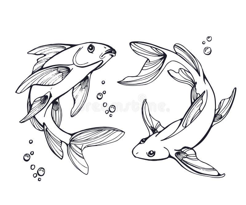 Stylized fishes. royalty free illustration