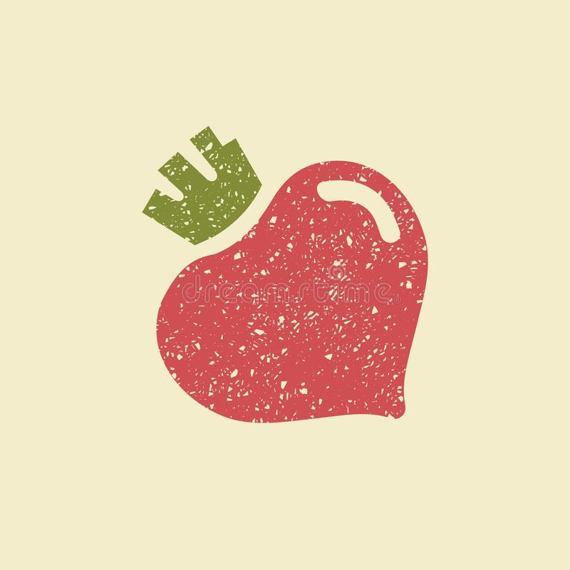 Stylized flat icon of a beetroot. Icon of a beetroot. Stylized drawing with colored pencils stock illustration