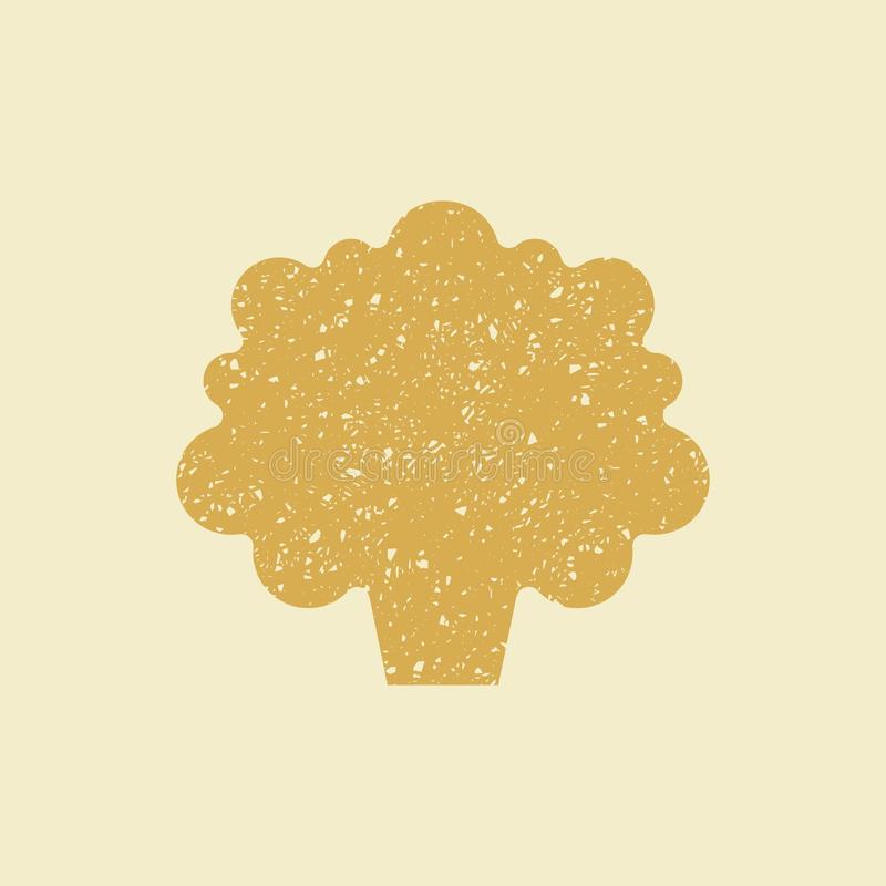 Stylized flat icon of a cauliflower,. Icon of a cauliflower,. Stylized drawing with colored pencils stock illustration