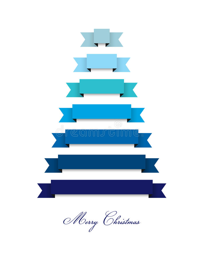 Stylized flat modern Christmas tree 2015. Ribbons decoration. vector illustration