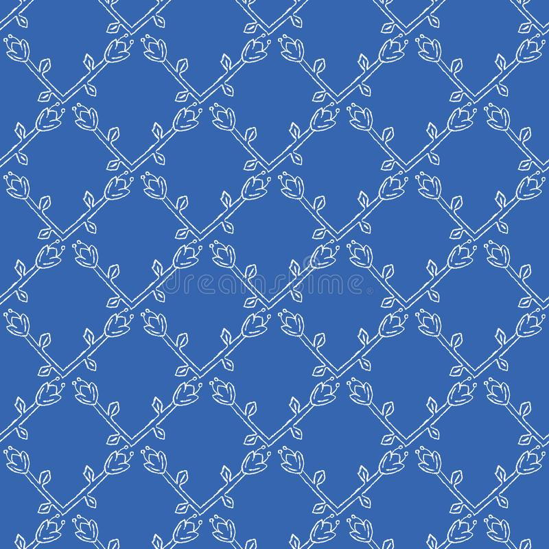 Stylized Flower Trellis Seamless Vector Pattern. Folk Floral Quilt Grid stock illustration