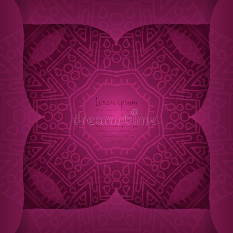 Stylized flowers. Decorative curly frame. Overlay elements. Burgundy background. Geometric background. A stylized drawing. Mandala. Decorative elements. Islam royalty free illustration