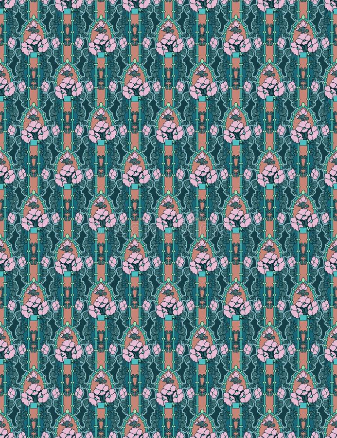 Art Nouveau floral abstract wallpaper in peach and teal colors royalty free illustration
