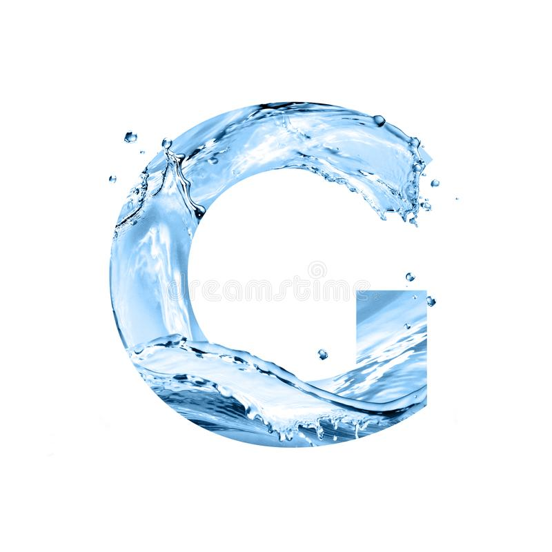Stylized font, text made of water splashes, capital letter g, is. Stylized font, art text made of water splashes, capital letter g, isolated on white background stock photo