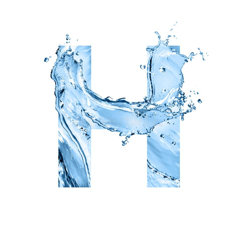 Stylized font, text made of water splashes, capital letter h, is. Stylized font, art text made of water splashes, capital letter h, isolated on white background royalty free stock photography