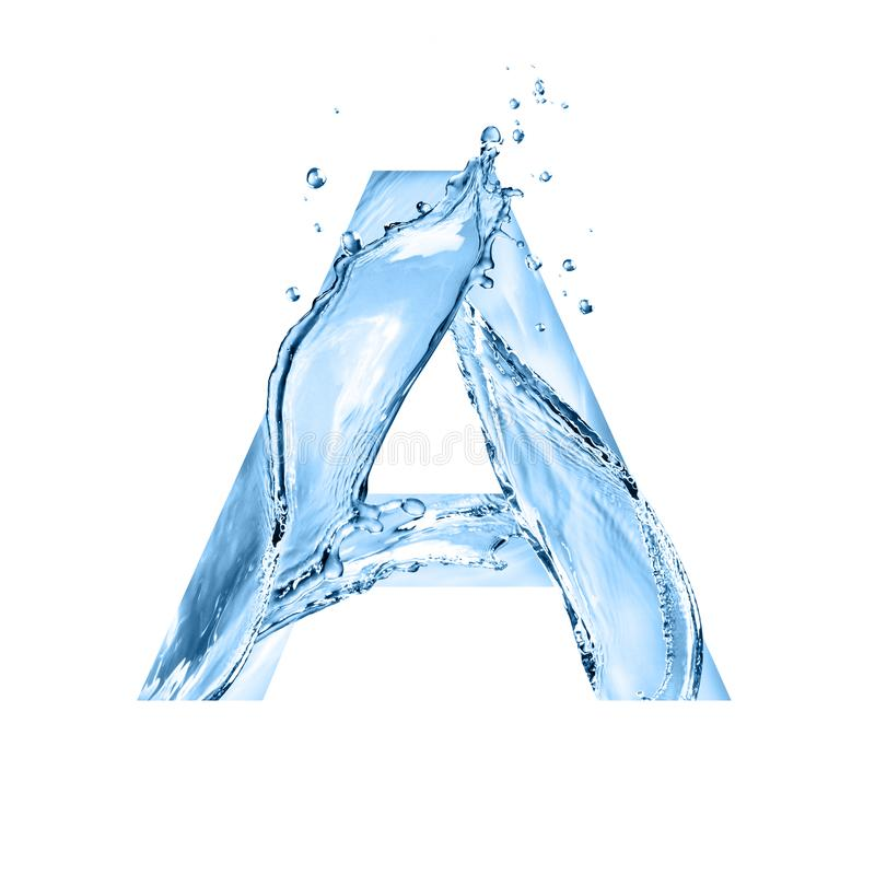 Stylized font, text made of water splashes, capital letter a, is. Olated on white background stock images