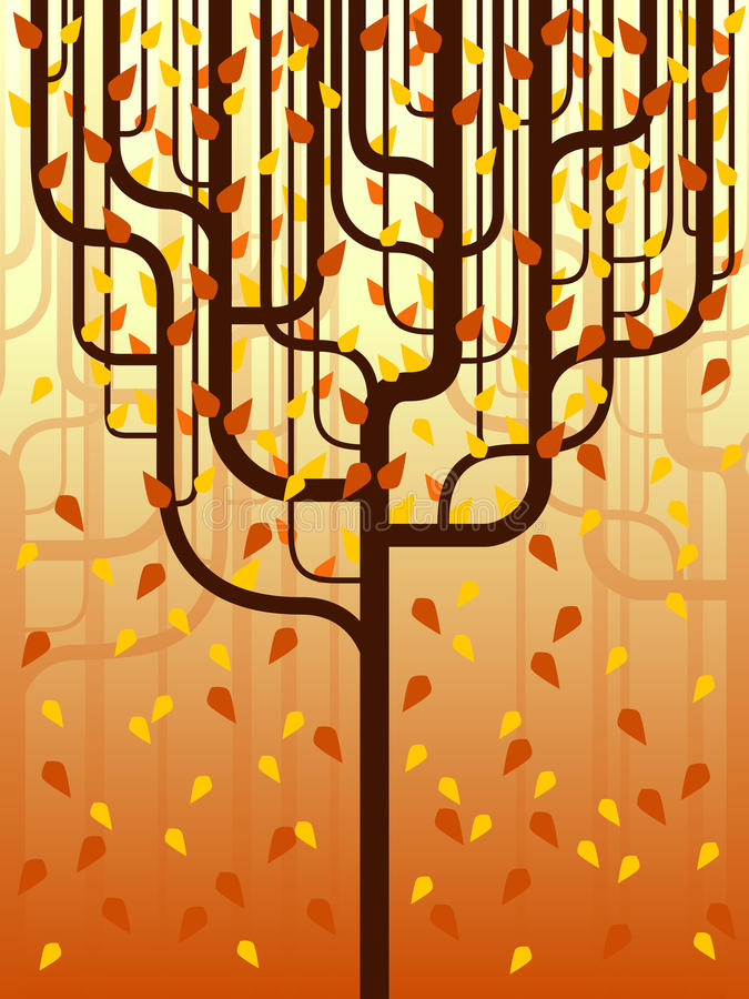 Stylized forest in fall stock photography