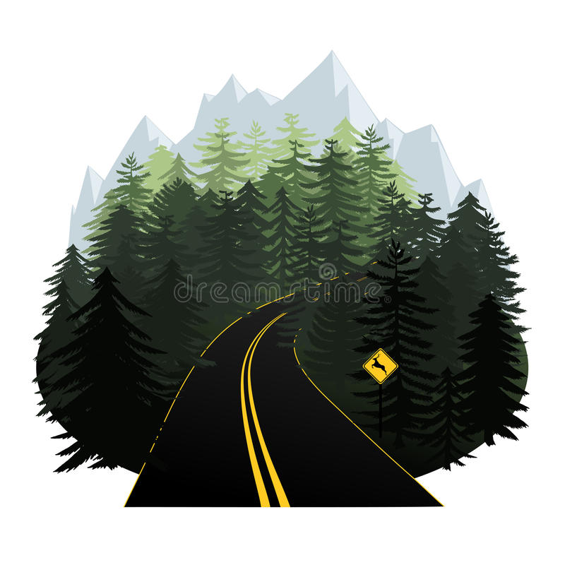 Stylized forest road vector illustration with mountains in the h vector illustration