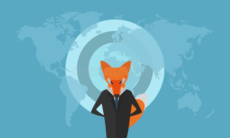 Stylized Fox Dressed as a Businessman in Dark Suit vector illustration