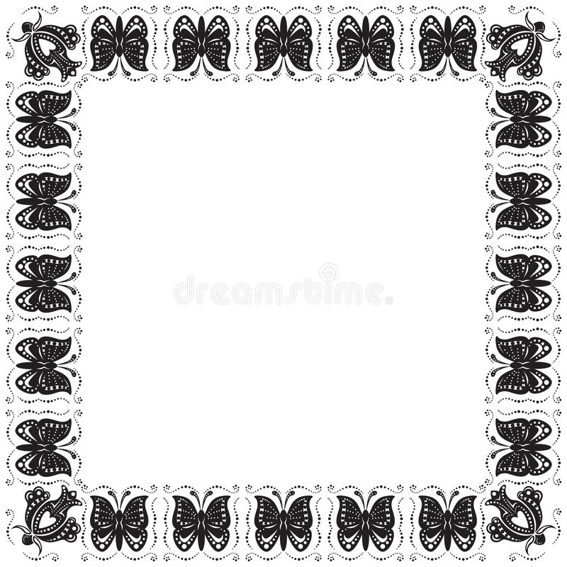 Download Stylized Frame With Butterflies And Flowers Stock Vector - Illustration of butterfly, contour: 21976885