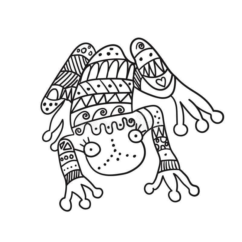Stylized frog isolated on white background. stock illustration