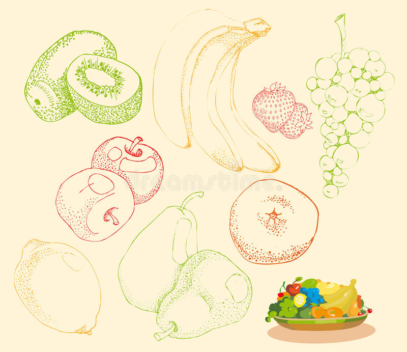 Download Stylized Fruit And Fruit Group On A Plate Stock Vector - Image: 18966548
