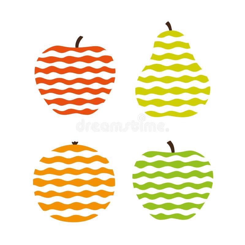 stylized frukter vektor illustrationer
