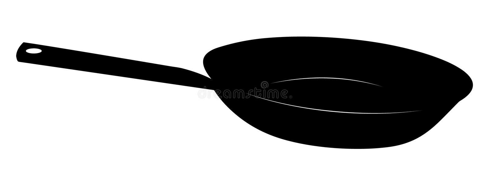 Stylized frying pan vector illustration. In black and white royalty free illustration