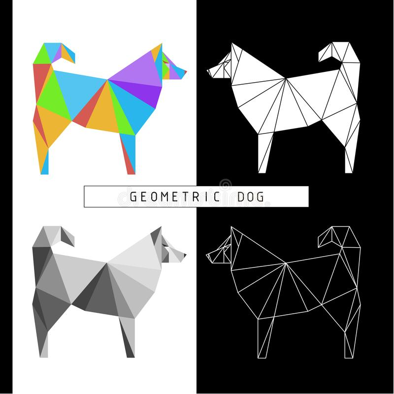 Stylized geometric model of a polygonal dog. Different color combinations. Linear image. Origami. Low polygonal illustrations vector illustration