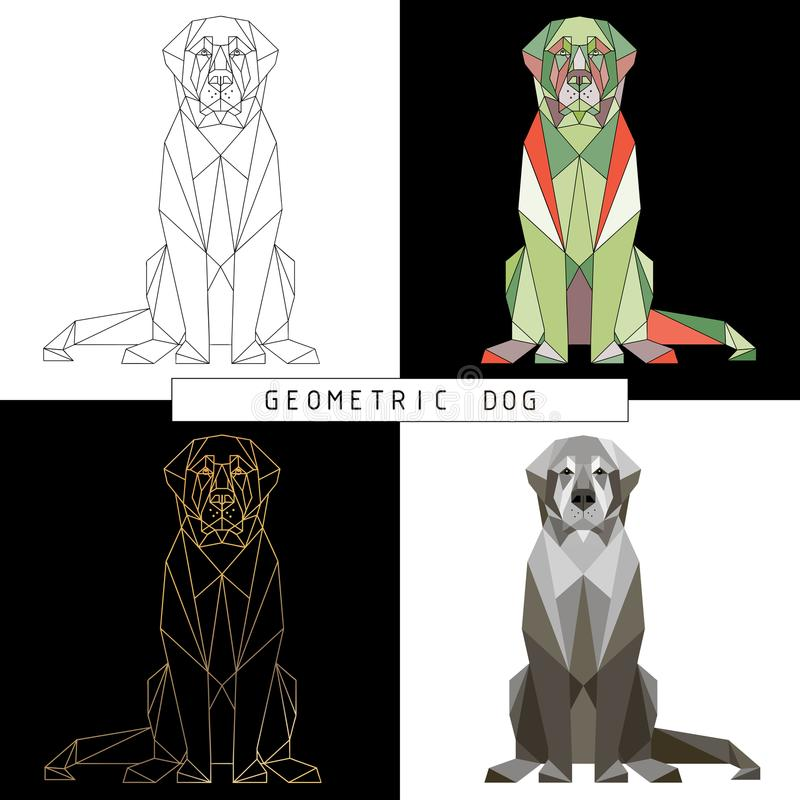 Stylized geometric model of a polygonal sitting dog in the fac. Different color combinations. Linear image. Origami. Colorful low-poly-illustration royalty free illustration