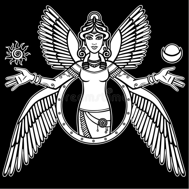 Stylized goddess Ishtar. Vector illustration: the stylized goddess Ishtar. Character of Sumerian mythology. The white silhouette isolated on a black background vector illustration