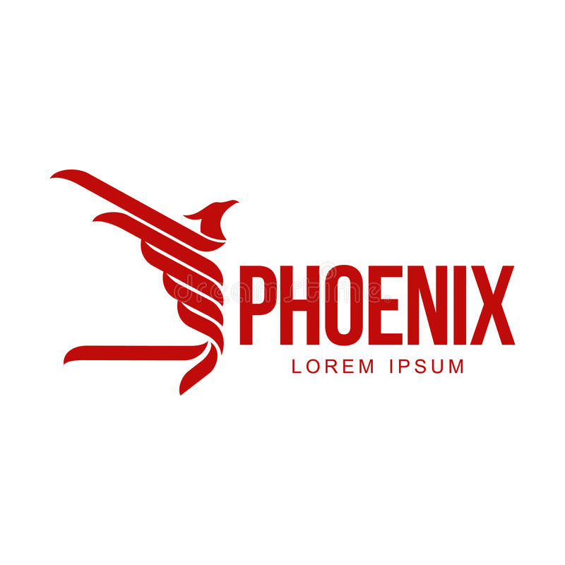 Stylized graphic phoenix bird flying with expanded wings logo template. Vector illustration isolated on white background. Phoenix bird logotype template royalty free illustration