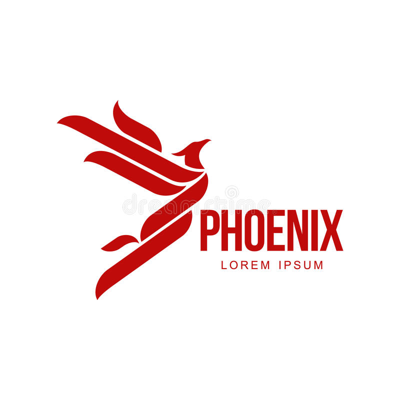 Stylized graphic phoenix bird flying with expanded wings logo template. Vector illustration isolated on white background. Phoenix bird logotype template stock illustration