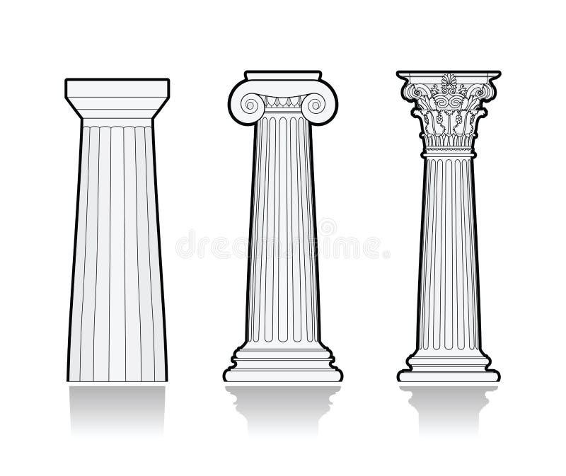 Stylized grekiska kolonner stock illustrationer