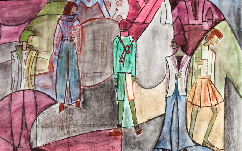Stylized group of people. Model of woman clothing - stylized group of people on abstract street royalty free illustration