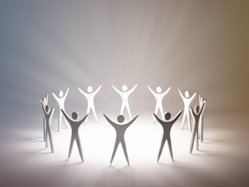 Stylized group of people silhouettes. Standing in a circle royalty free illustration