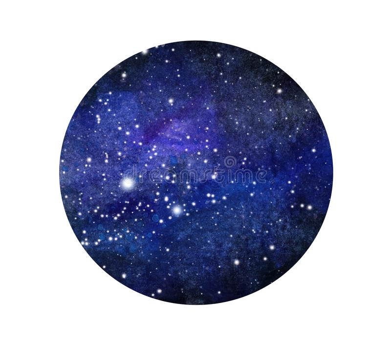 Stylized grunge galaxy or night sky with stars. Watercolor space background. Cosmos illustration in circle. stock illustration