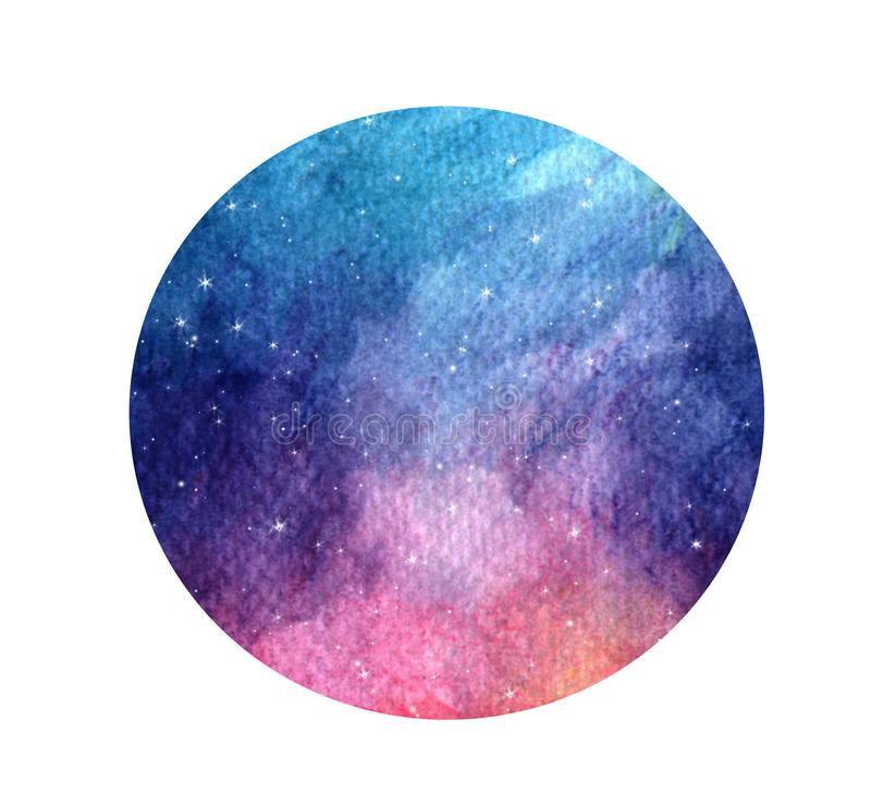 Stylized grunge galaxy or night sky with stars. Watercolor space background. Cosmos illustration in circle. Hand drawn stylized grunge galaxy or night sky with vector illustration