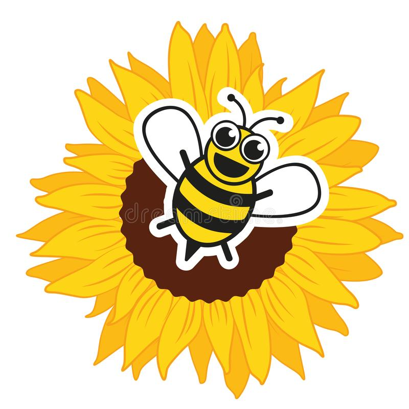 Stylized happy bee and sunflower stock illustration