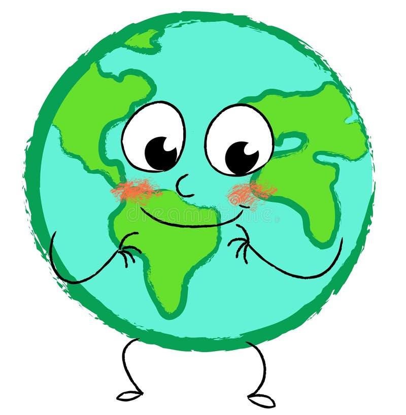 Stylized happy globe vector illustration