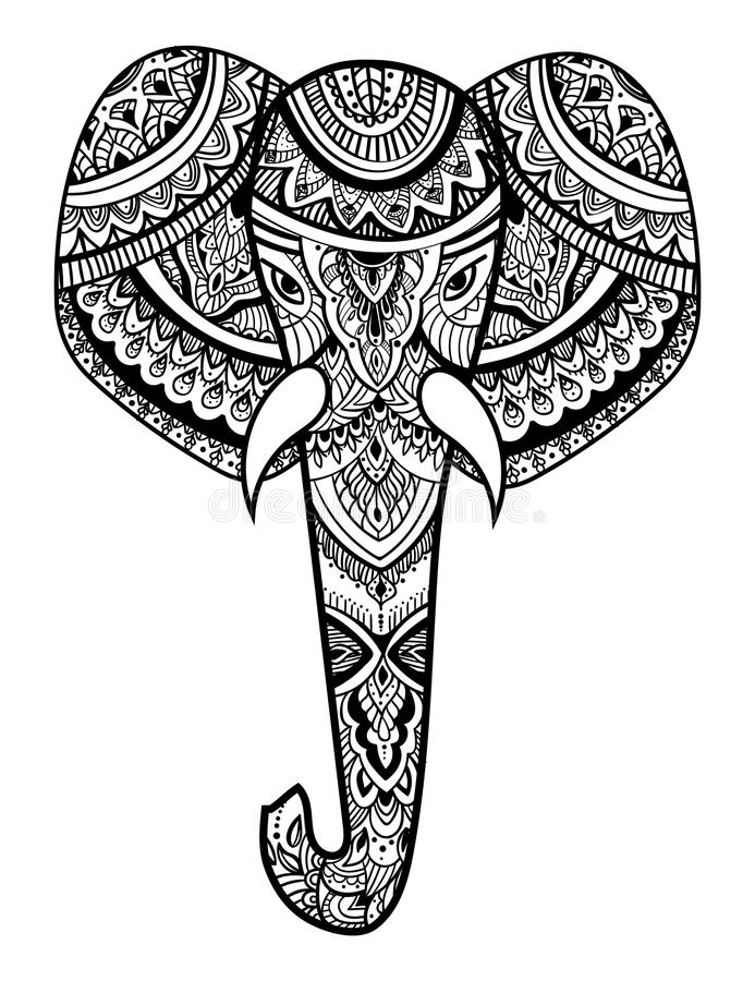 Download stylized head of an elephant ornamental portrait of an elephant black and white