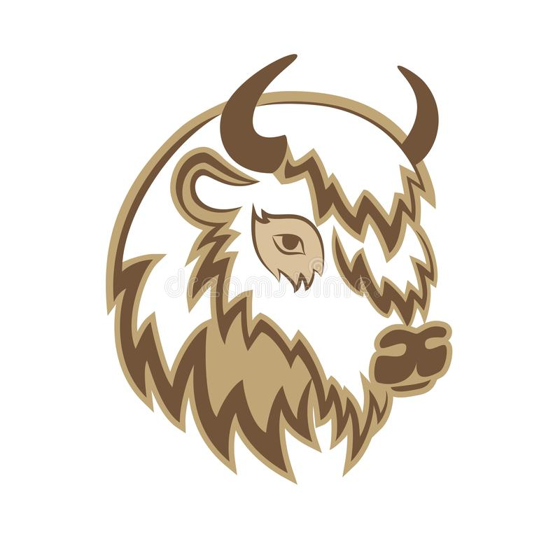 Free Stylized Head Of A Buffalo With The Horns On The Side. Royalty Free Stock Photos - 116514248