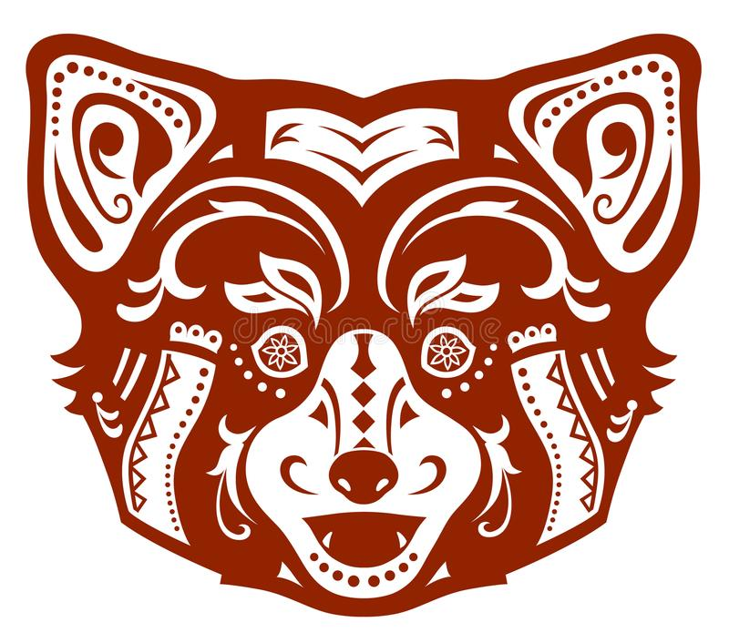 Ethnic ornamented red panda. The stylized head of a red panda in festive patterns. Raster illustration royalty free illustration
