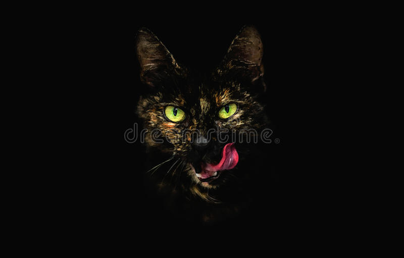 Stylized Head of Tabby Cat with Protruding Tongue and Shiny Green Eyes. Stylized Head of Tabby Cat with Protruding Tongue and Shiny Green Eyes on the Black royalty free stock photo