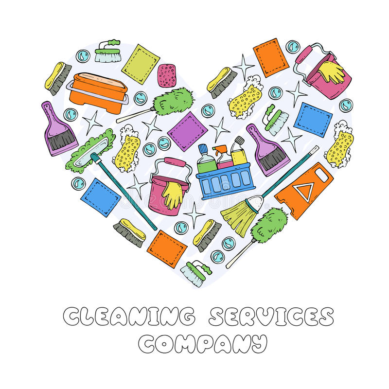 Stylized Heart With Symbols Of Cleaning Services Company Stock