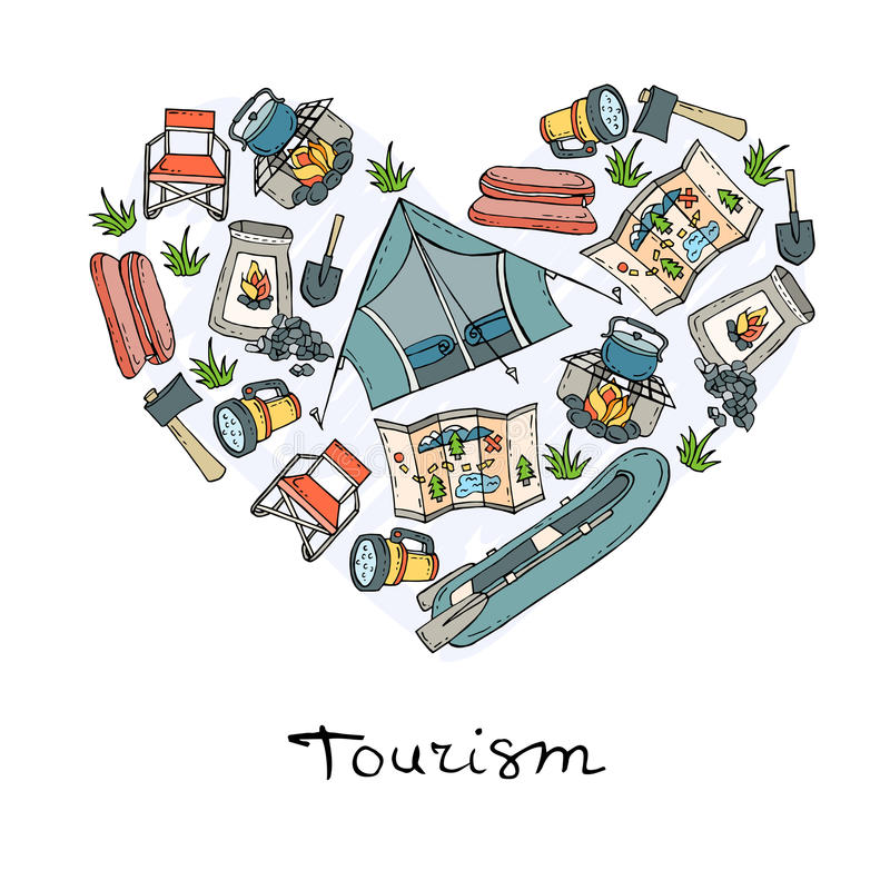 Stylized Heart With Symbols Of Tourism Camping Stock Illustration