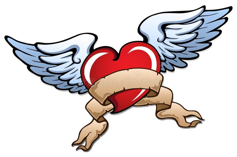 Stylized heart with wings 2. Vector illustration royalty free illustration