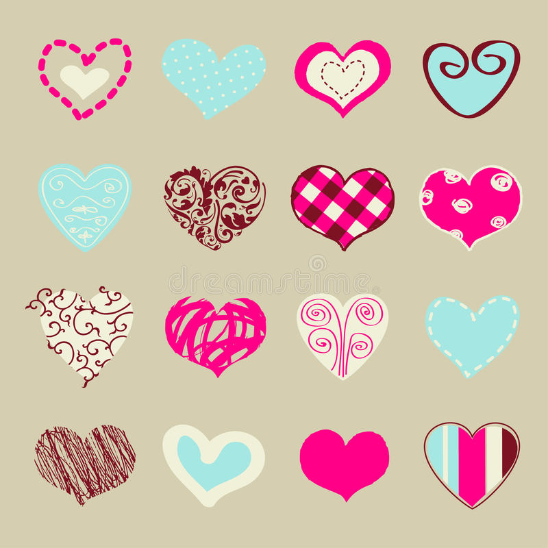 Stylized hearts. Set of hand drawn hearts for You royalty free illustration