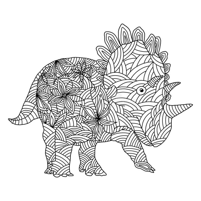 Stylized Herbivore Dinosaur Coloring Page On An Isolated White Background.  Stock Vector - Illustration Of Background, Abstract: 182038436