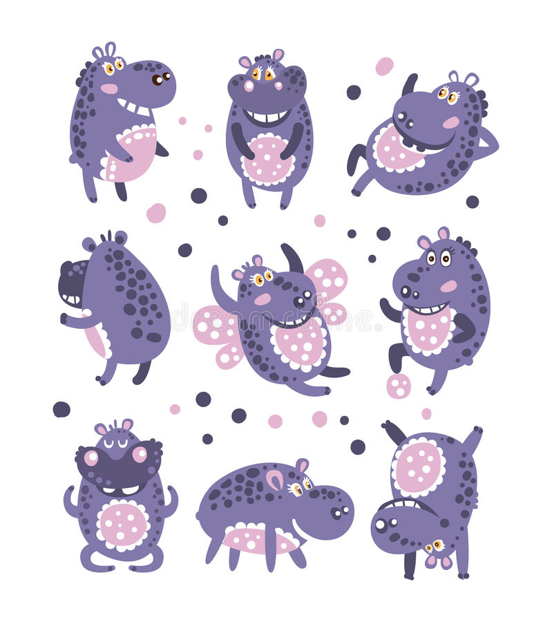 Stylized Hippo With Polka-Dotted Pattern Collection Of Childish Stickers Or Prints Of Friendly Toy Animal In Violet royalty free illustration