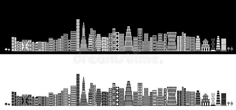 stylized horisont vektor illustrationer