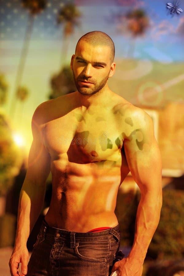 Stylized hot guy royalty free stock photo