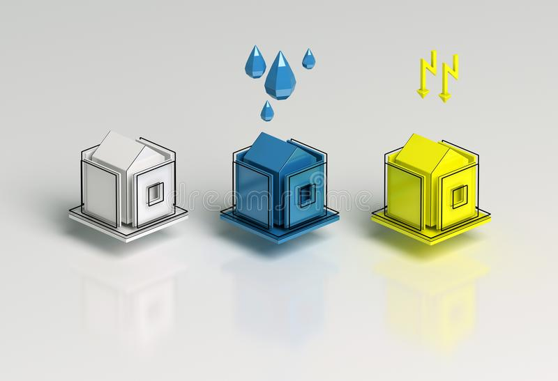 Stylized Houses With Water Supply And Electricity Signs. Power ...