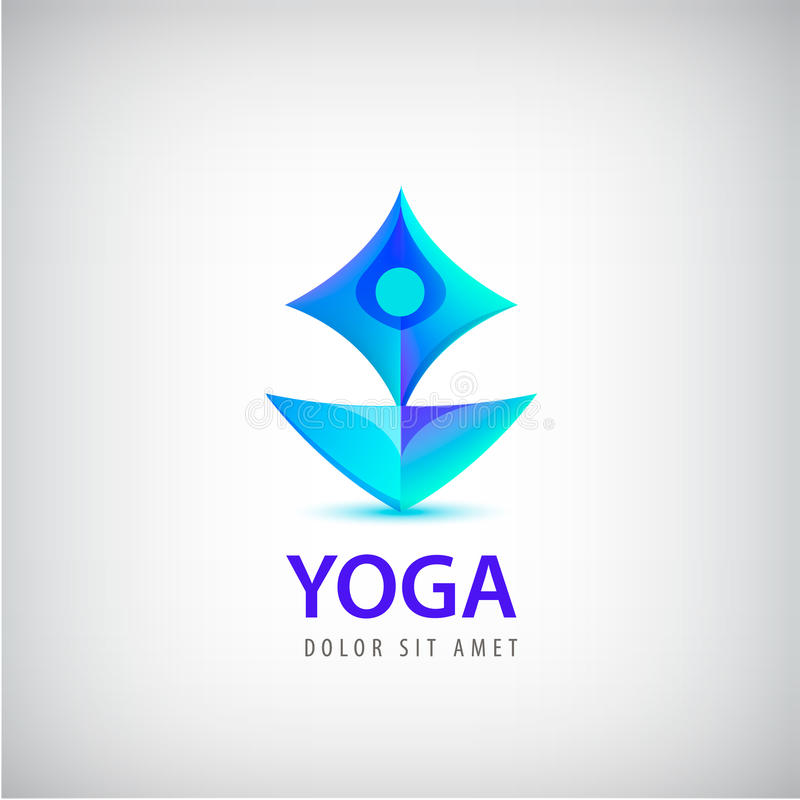 Stylized human yoga shape Logo. Man sitting Lotus pose design vector template. vector illustration