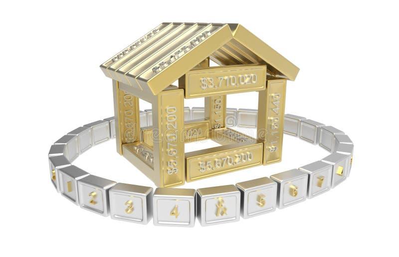 Stylized hus som göras av element för räkneark 3d vektor illustrationer